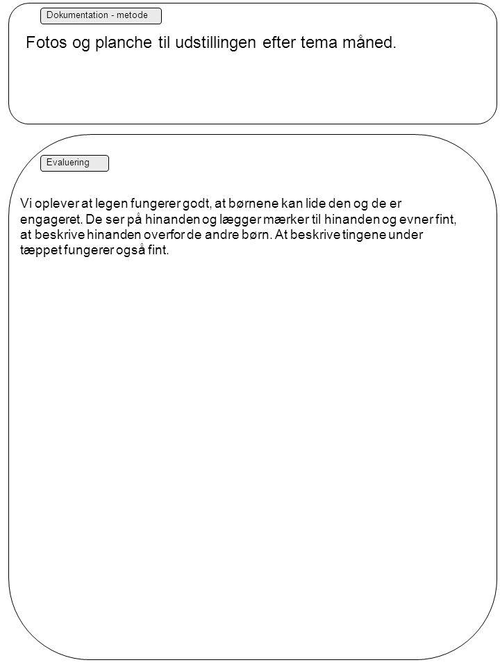 Dokumentation - metode Evaluering Fotos og planche til udstillingen efter tema måned.
