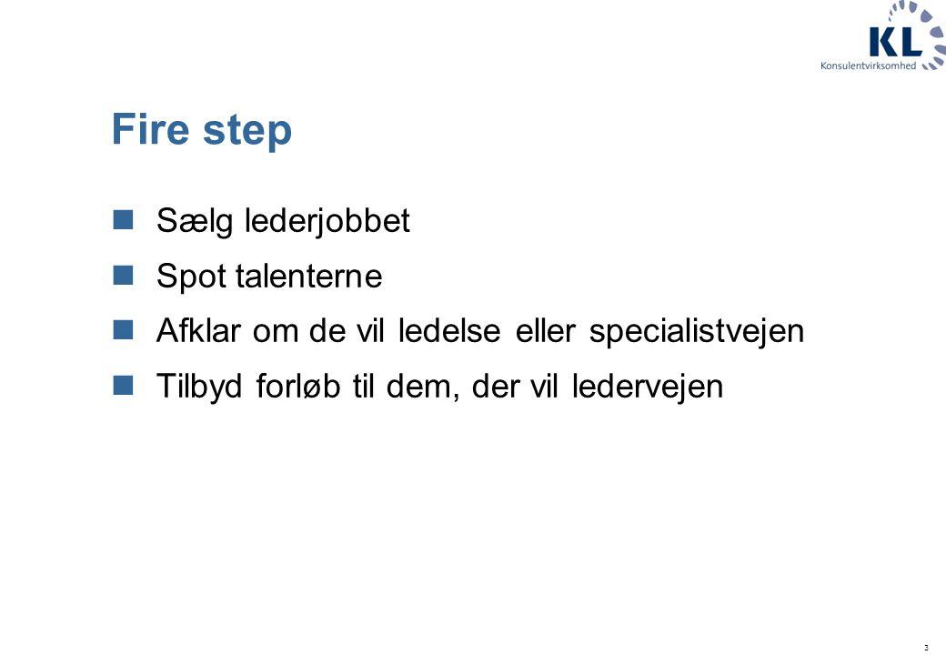 3 Fire step Sælg lederjobbet Spot talenterne Afklar om de vil ledelse eller specialistvejen Tilbyd forløb til dem, der vil ledervejen