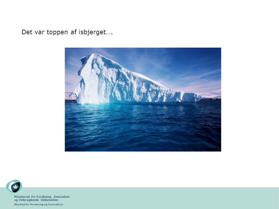 Ministeriet for Forskning, Innovation og Videregående Uddannelser Styrelse for Forskning og Innovation Det var toppen af isbjerget….