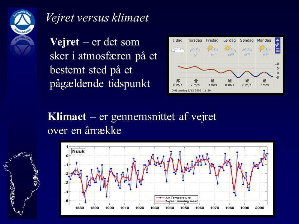 Vejret versus klimaet Vejret – er det som sker i atmosfæren på et bestemt sted på et pågældende tidspunkt Klimaet – er gennemsnittet af vejret over en årrække