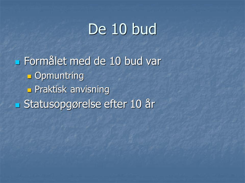 De 10 bud Formålet med de 10 bud var Formålet med de 10 bud var Opmuntring Opmuntring Praktisk anvisning Praktisk anvisning Statusopgørelse efter 10 år Statusopgørelse efter 10 år