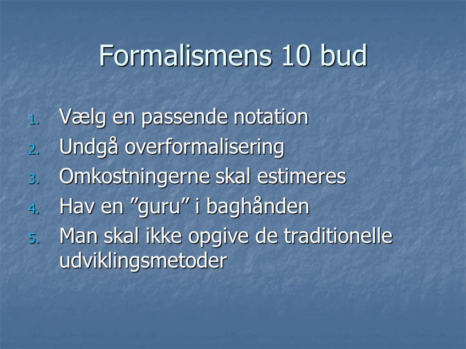 Formalismens 10 bud 1. Vælg en passende notation 2.