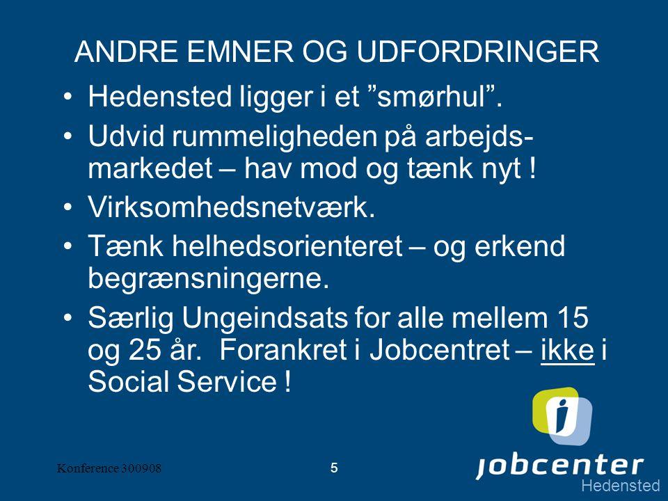 Hedensted Konference 3009085 ANDRE EMNER OG UDFORDRINGER Hedensted ligger i et smørhul .