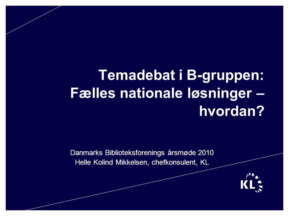 Temadebat i B-gruppen: Fælles nationale løsninger – hvordan.