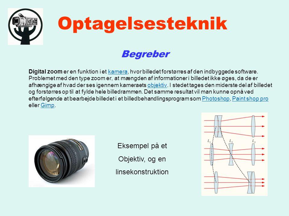 Optagelsesteknik Begreber Digital zoom er en funktion i et kamera, hvor billedet forstørres af den indbyggede software.