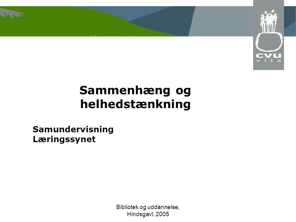 Bibliotek og uddannelse, Hindsgavl, 2005 Sammenhæng og helhedstænkning Samundervisning Læringssynet