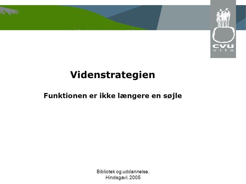 Bibliotek og uddannelse, Hindsgavl, 2005 Videnstrategien Funktionen er ikke længere en søjle