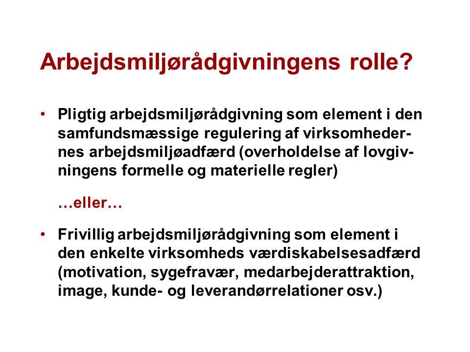 Arbejdsmiljørådgivningens rolle.