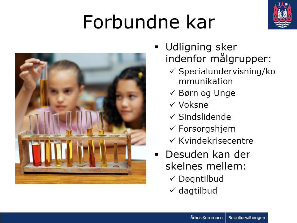 Århus KommuneSocialforvaltningen Forbundne kar  Udligning sker indenfor målgrupper: Specialundervisning/ko mmunikation Børn og Unge Voksne Sindslidende Forsorgshjem Kvindekrisecentre  Desuden kan der skelnes mellem: Døgntilbud dagtilbud