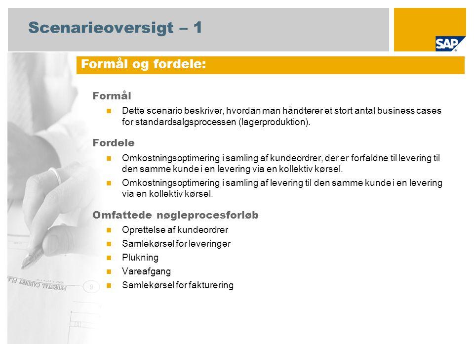 Scenarieoversigt – 1 Formål Dette scenario beskriver, hvordan man håndterer et stort antal business cases for standardsalgsprocessen (lagerproduktion).