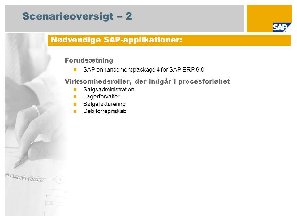 Scenarieoversigt – 2 Forudsætning SAP enhancement package 4 for SAP ERP 6.0 Virksomhedsroller, der indgår i procesforløbet Salgsadministration Lagerforvalter Salgsfakturering Debitorregnskab Nødvendige SAP-applikationer: