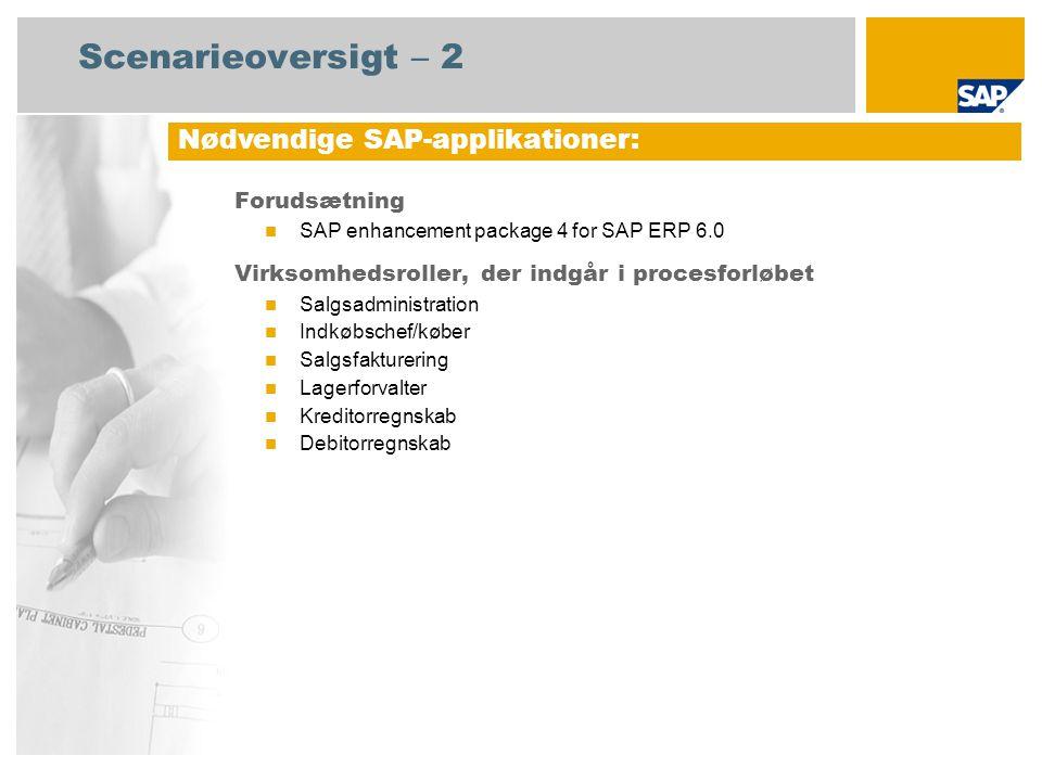 Scenarieoversigt – 2 Forudsætning SAP enhancement package 4 for SAP ERP 6.0 Virksomhedsroller, der indgår i procesforløbet Salgsadministration Indkøbschef/køber Salgsfakturering Lagerforvalter Kreditorregnskab Debitorregnskab Nødvendige SAP-applikationer: