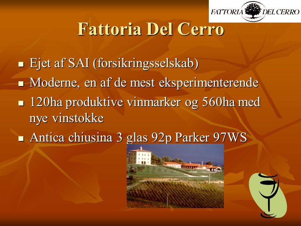 Fattoria Del Cerro Ejet af SAI (forsikringsselskab) Ejet af SAI (forsikringsselskab) Moderne, en af de mest eksperimenterende Moderne, en af de mest eksperimenterende 120ha produktive vinmarker og 560ha med nye vinstokke 120ha produktive vinmarker og 560ha med nye vinstokke Antica chiusina 3 glas 92p Parker 97WS Antica chiusina 3 glas 92p Parker 97WS
