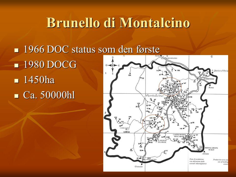 Brunello di Montalcino 1966 DOC status som den første 1966 DOC status som den første 1980 DOCG 1980 DOCG 1450ha 1450ha Ca.