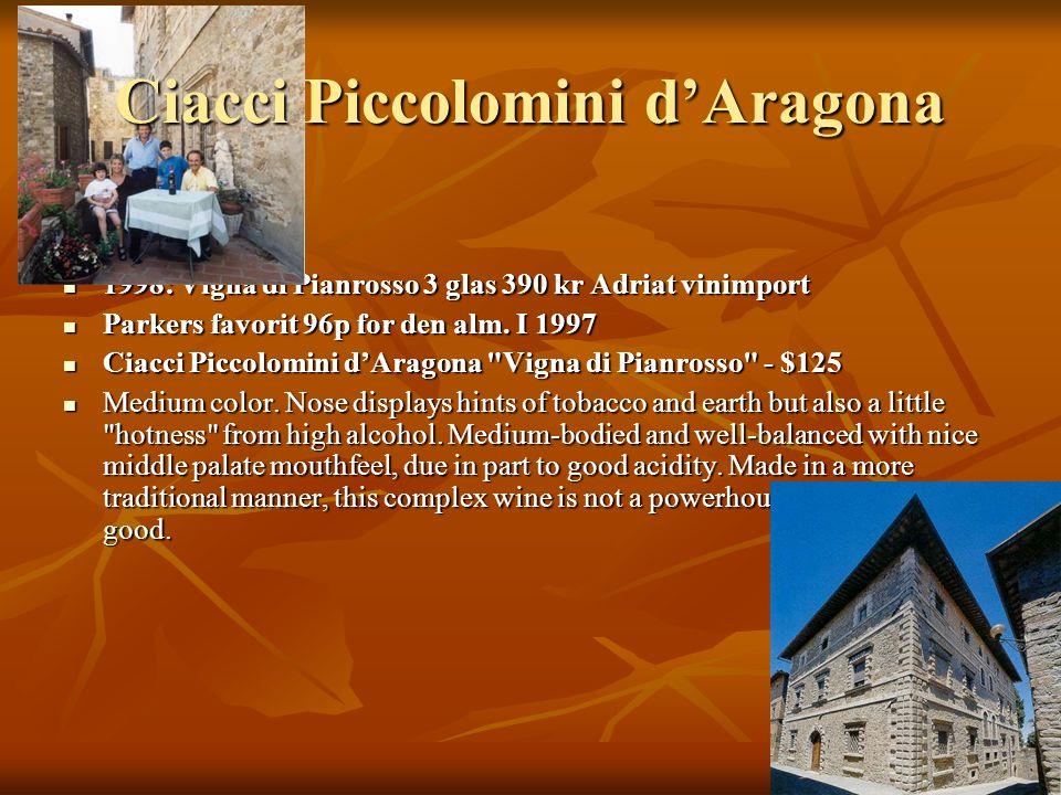 1998: Vigna di Pianrosso 3 glas 390 kr Adriat vinimport 1998: Vigna di Pianrosso 3 glas 390 kr Adriat vinimport Parkers favorit 96p for den alm.