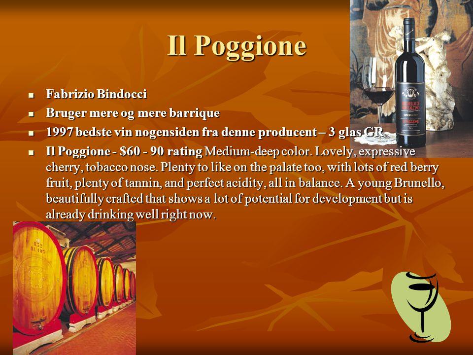 Il Poggione Fabrizio Bindocci Fabrizio Bindocci Bruger mere og mere barrique Bruger mere og mere barrique 1997 bedste vin nogensiden fra denne producent – 3 glas GR 1997 bedste vin nogensiden fra denne producent – 3 glas GR Il Poggione - $60 - 90 rating Medium-deep color.