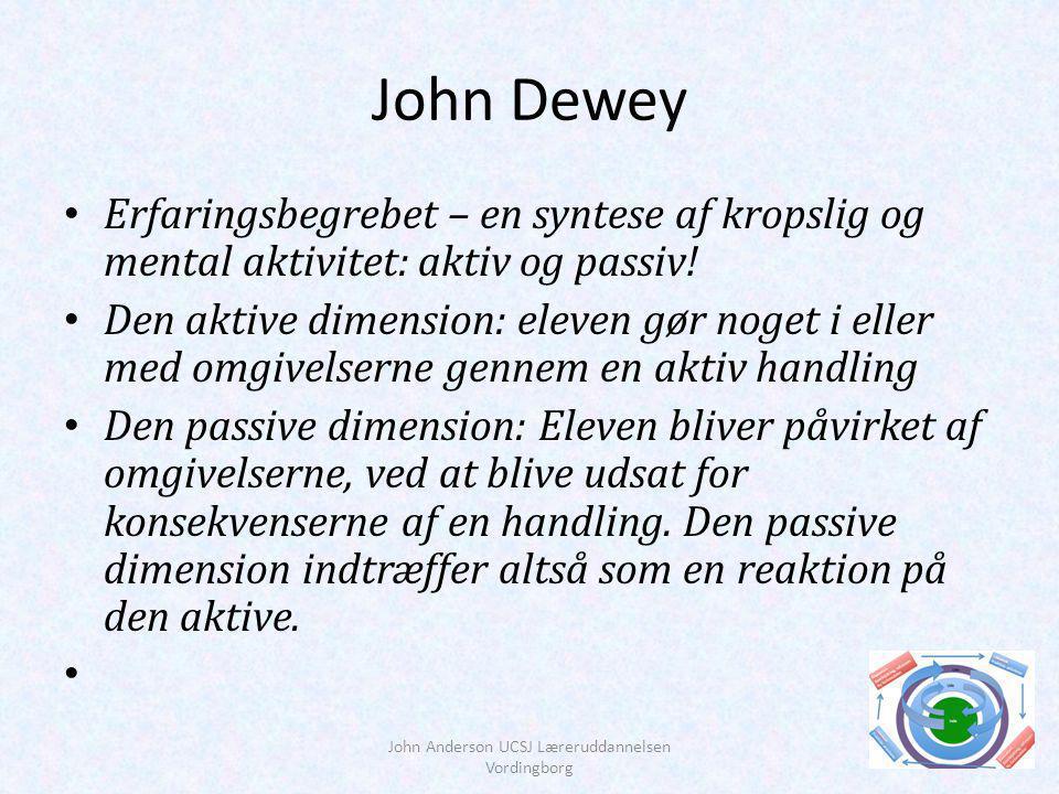 John Dewey Erfaringsbegrebet – en syntese af kropslig og mental aktivitet: aktiv og passiv.