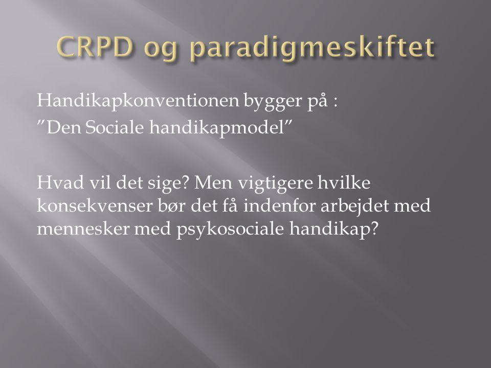 Handikapkonventionen bygger på : Den Sociale handikapmodel Hvad vil det sige.