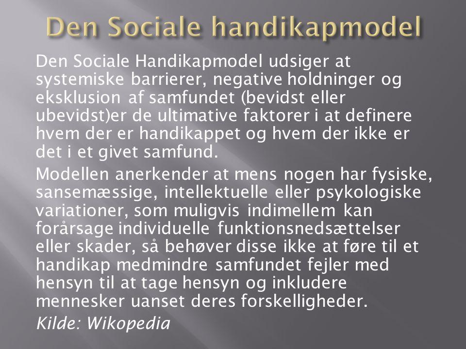 Den Sociale Handikapmodel udsiger at systemiske barrierer, negative holdninger og eksklusion af samfundet (bevidst eller ubevidst)er de ultimative faktorer i at definere hvem der er handikappet og hvem der ikke er det i et givet samfund.