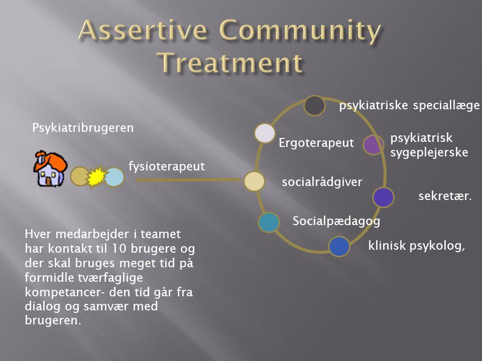 psykiatrisk sygeplejerske fysioterapeut psykiatriske speciallæge socialrådgiver sekretær.