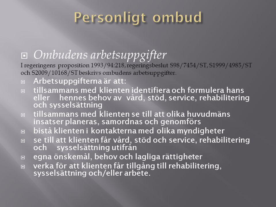  Ombudens arbetsuppgifter I regeringens proposition 1993/94:218, regeringsbeslut S98/7454/ST, S1999/4985/ST och S2009/10168/ST beskrivs ombudens arbetsuppgifter.