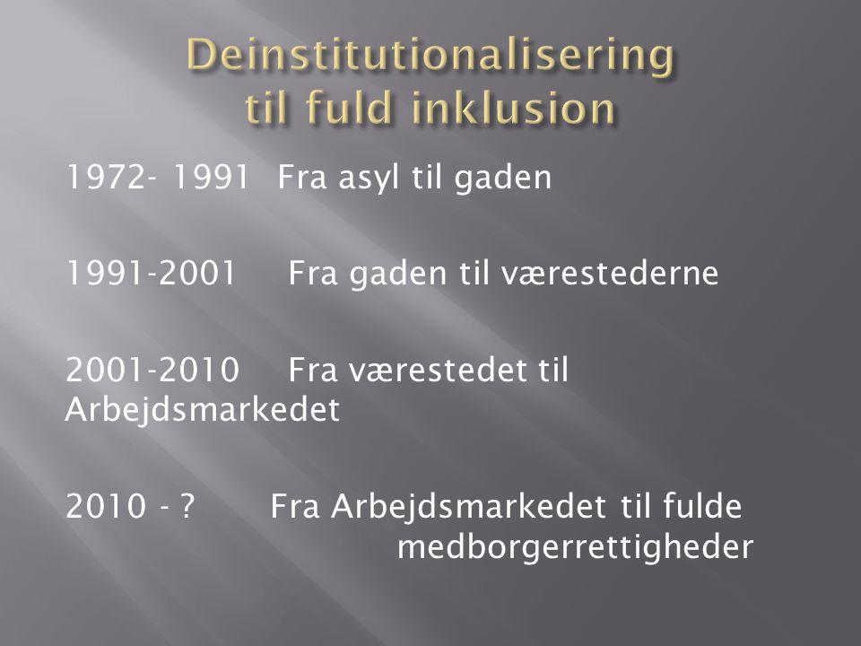 1972- 1991 Fra asyl til gaden 1991-2001 Fra gaden til værestederne 2001-2010 Fra værestedet til Arbejdsmarkedet 2010 - .