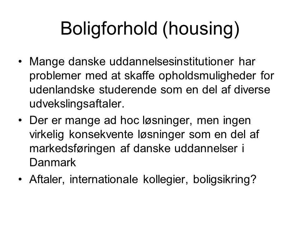 Boligforhold (housing) Mange danske uddannelsesinstitutioner har problemer med at skaffe opholdsmuligheder for udenlandske studerende som en del af diverse udvekslingsaftaler.