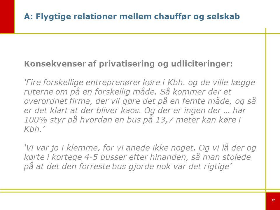 12 A: Flygtige relationer mellem chauffør og selskab Konsekvenser af privatisering og udliciteringer: 'Fire forskellige entreprenører køre i Kbh.