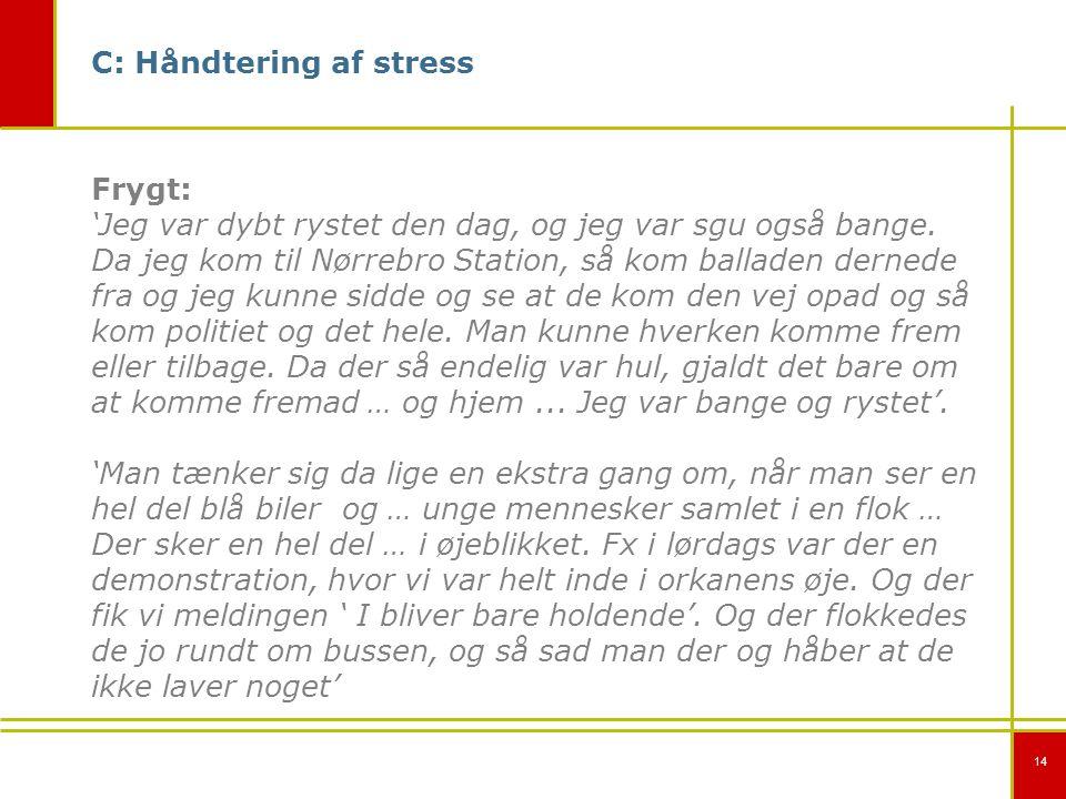 14 C: Håndtering af stress Frygt: 'Jeg var dybt rystet den dag, og jeg var sgu også bange.