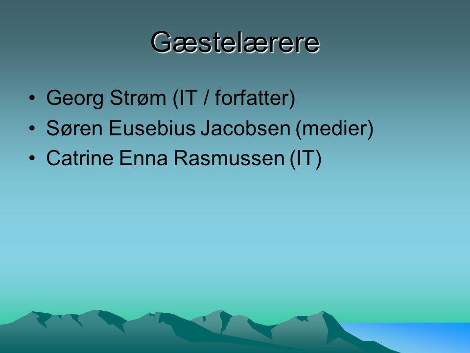 Gæstelærere Georg Strøm (IT / forfatter) Søren Eusebius Jacobsen (medier) Catrine Enna Rasmussen (IT)