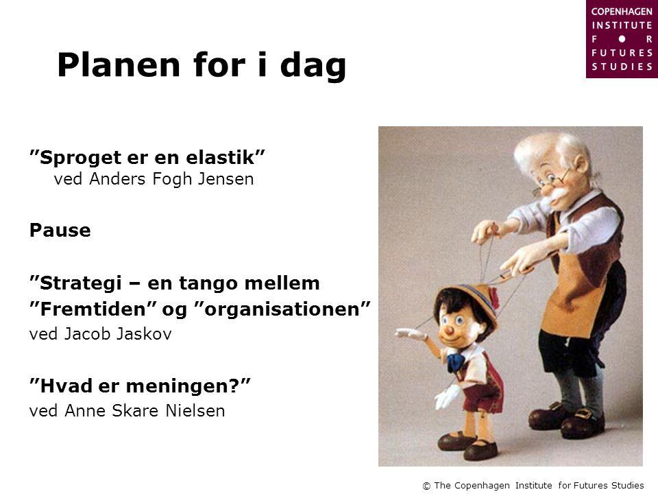 © The Copenhagen Institute for Futures Studies Planen for i dag Sproget er en elastik ved Anders Fogh Jensen Pause Strategi – en tango mellem Fremtiden og organisationen ved Jacob Jaskov Hvad er meningen ved Anne Skare Nielsen
