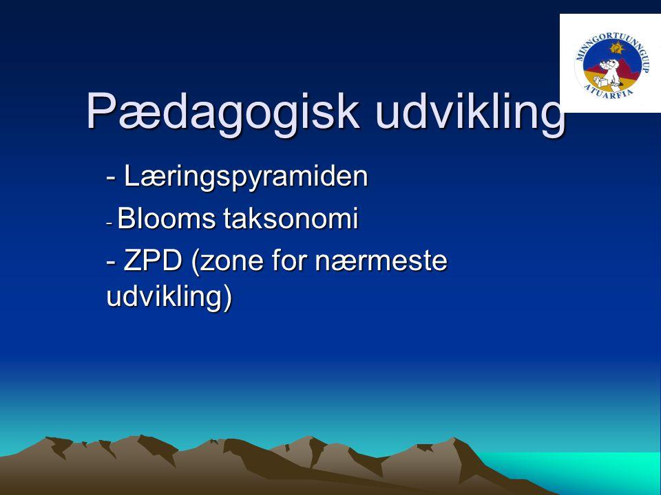 Pædagogisk udvikling - Læringspyramiden - Blooms taksonomi - ZPD (zone for nærmeste udvikling)
