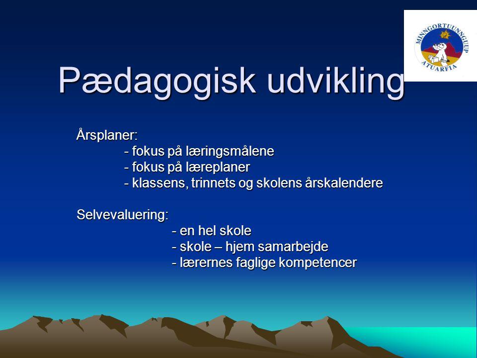 Pædagogisk udvikling Årsplaner: - fokus på læringsmålene - fokus på læreplaner - klassens, trinnets og skolens årskalendere Selvevaluering: - en hel skole - skole – hjem samarbejde - lærernes faglige kompetencer