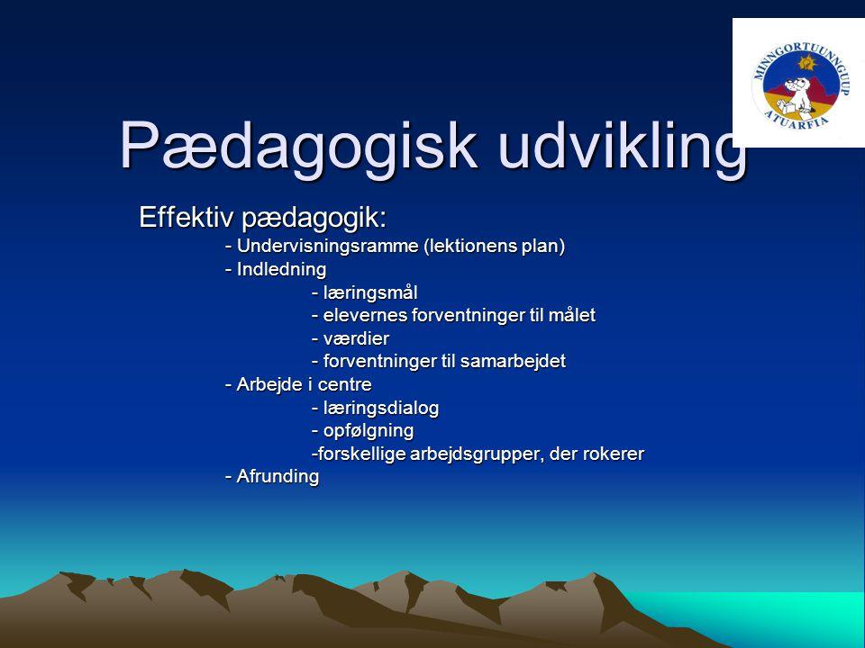 Pædagogisk udvikling Effektiv pædagogik: - Undervisningsramme (lektionens plan) - Indledning - læringsmål - elevernes forventninger til målet - værdier - forventninger til samarbejdet - Arbejde i centre - læringsdialog - opfølgning -forskellige arbejdsgrupper, der rokerer - Afrunding