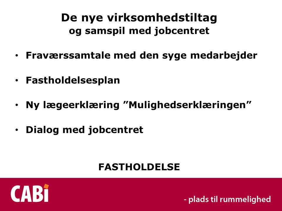 De nye virksomhedstiltag og samspil med jobcentret Fraværssamtale med den syge medarbejder Fastholdelsesplan Ny lægeerklæring Mulighedserklæringen Dialog med jobcentret FASTHOLDELSE