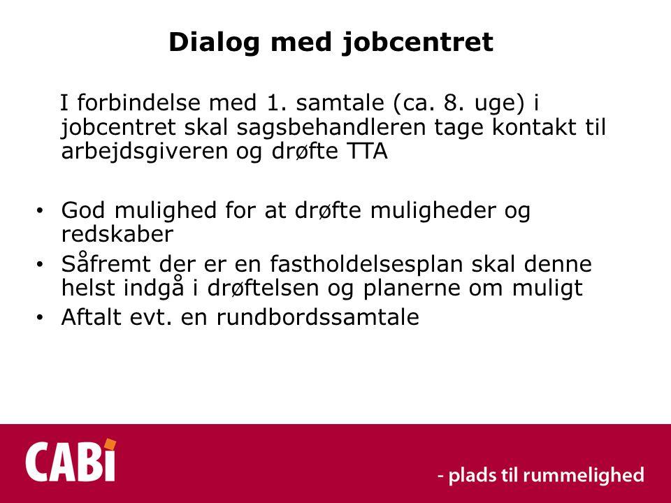 Dialog med jobcentret I forbindelse med 1. samtale (ca.