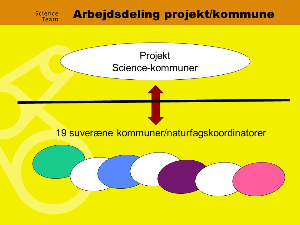 Arbejdsdeling projekt/kommune Projekt Science-kommuner 19 suveræne kommuner/naturfagskoordinatorer
