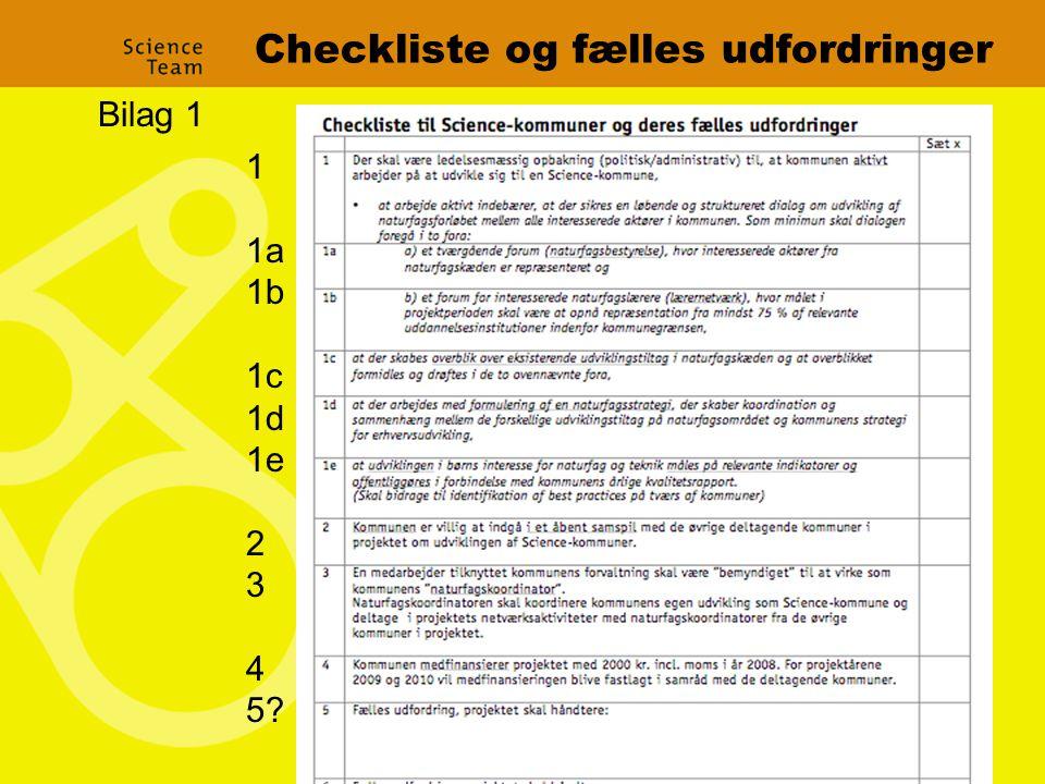 Checkliste og fælles udfordringer 1 1a 1b 1c 1d 1e 2 3 4 5 Bilag 1