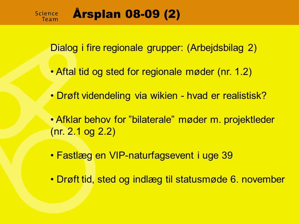 Årsplan 08-09 (2) Dialog i fire regionale grupper: (Arbejdsbilag 2) Aftal tid og sted for regionale møder (nr.
