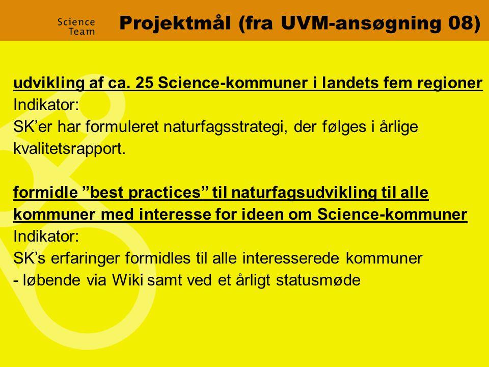Projektmål (fra UVM-ansøgning 08) udvikling af ca.