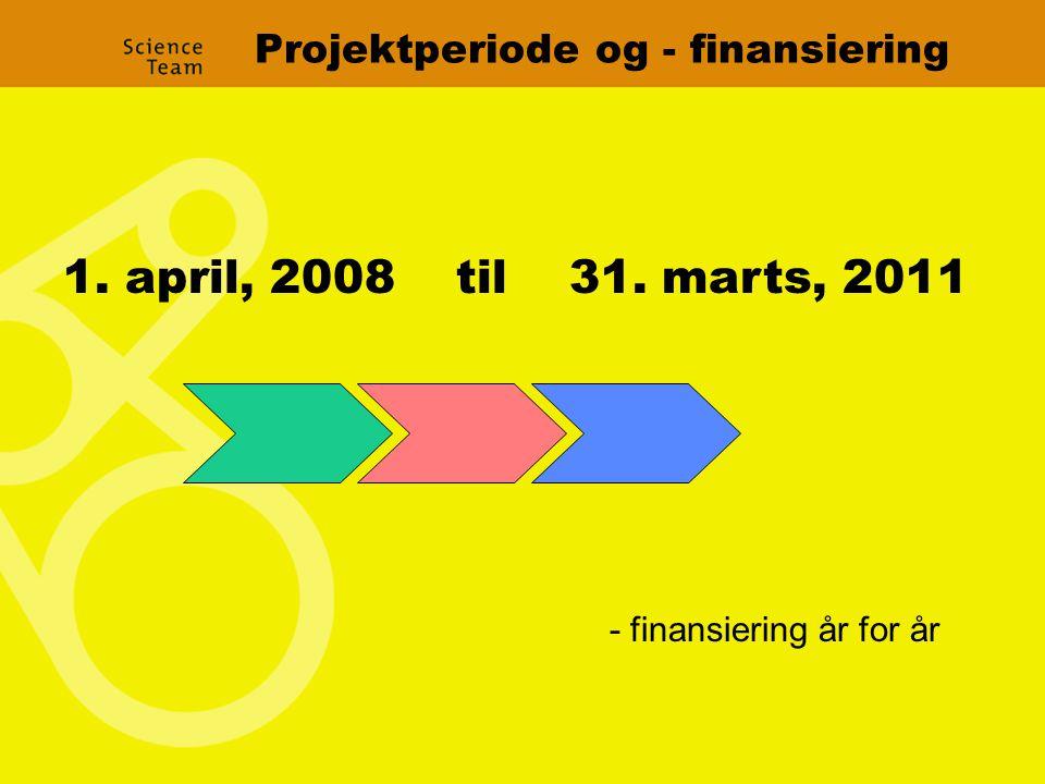 Projektperiode og - finansiering 1. april, 2008 til 31. marts, 2011 - finansiering år for år