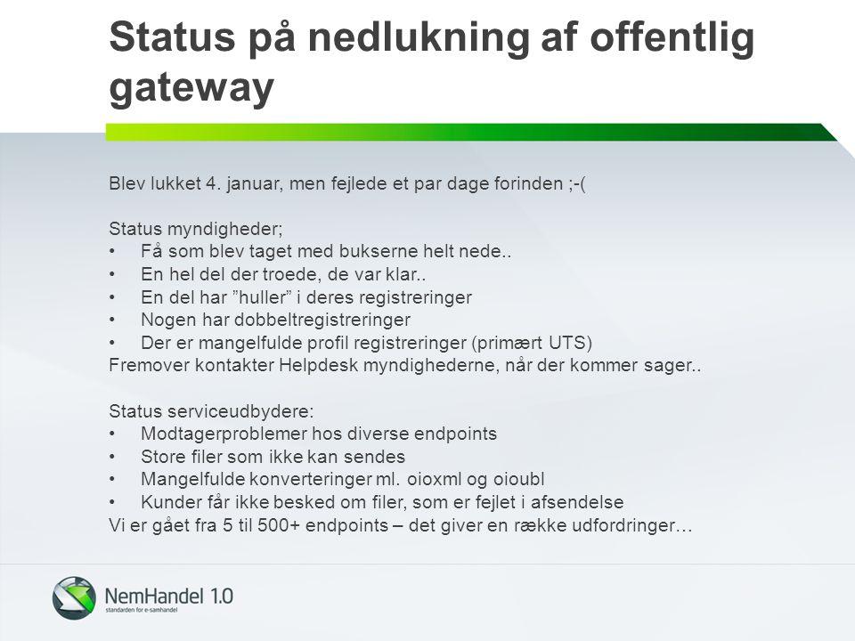 Status på nedlukning af offentlig gateway Blev lukket 4.