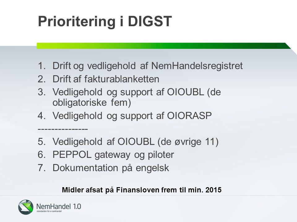 Prioritering i DIGST 1.Drift og vedligehold af NemHandelsregistret 2.Drift af fakturablanketten 3.Vedligehold og support af OIOUBL (de obligatoriske fem) 4.Vedligehold og support af OIORASP --------------- 5.Vedligehold af OIOUBL (de øvrige 11) 6.PEPPOL gateway og piloter 7.Dokumentation på engelsk Midler afsat på Finansloven frem til min.
