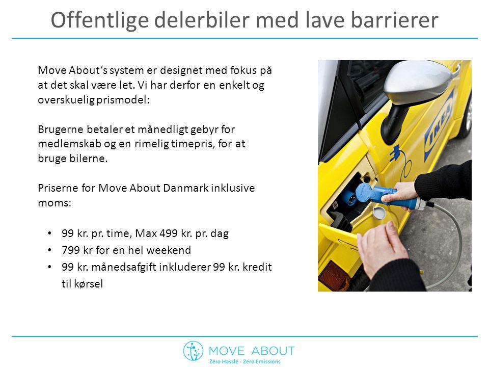 Offentlige delerbiler med lave barrierer Move About's system er designet med fokus på at det skal være let.
