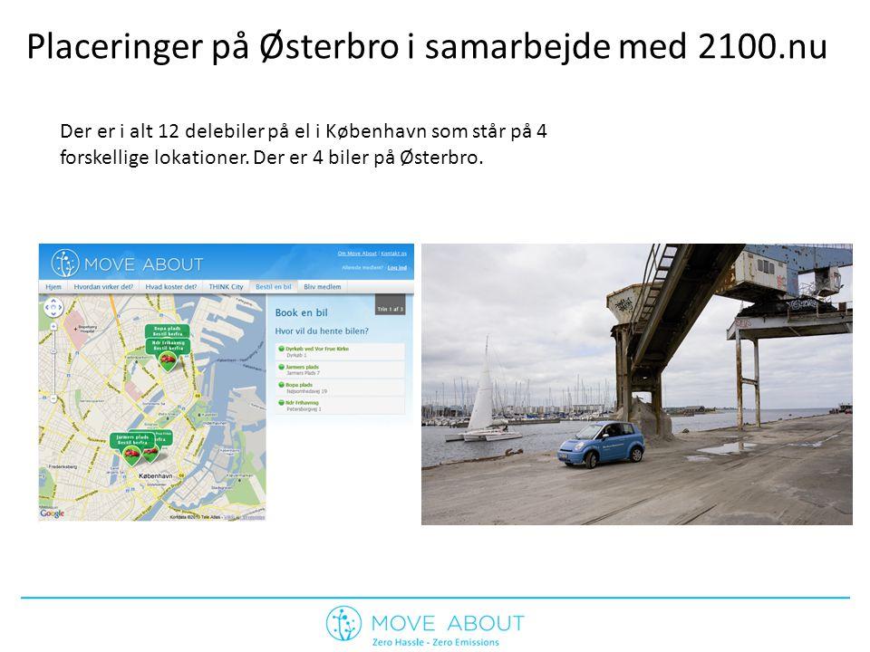 Placeringer på Østerbro i samarbejde med 2100.nu Der er i alt 12 delebiler på el i København som står på 4 forskellige lokationer.