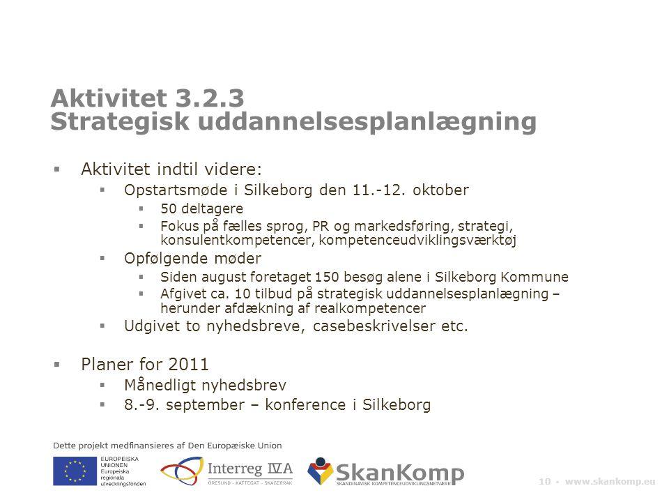 10 ▪ www.skankomp.eu Aktivitet 3.2.3 Strategisk uddannelsesplanlægning  Aktivitet indtil videre:  Opstartsmøde i Silkeborg den 11.-12.