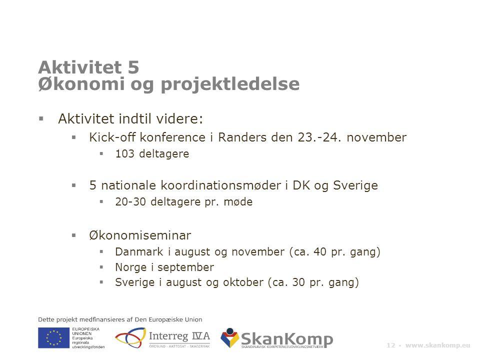 12 ▪ www.skankomp.eu Aktivitet 5 Økonomi og projektledelse  Aktivitet indtil videre:  Kick-off konference i Randers den 23.-24.