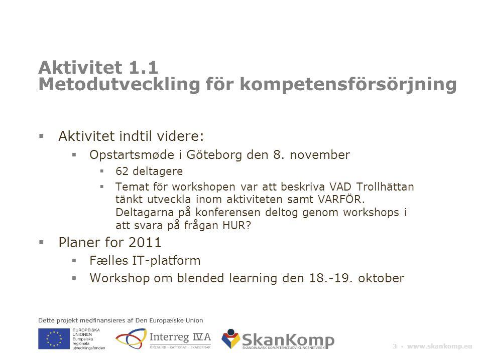 3 ▪ www.skankomp.eu Aktivitet 1.1 Metodutveckling för kompetensförsörjning  Aktivitet indtil videre:  Opstartsmøde i Göteborg den 8.