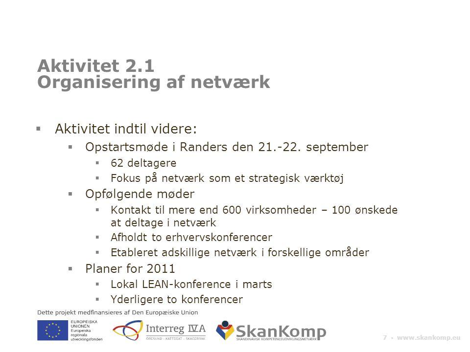 7 ▪ www.skankomp.eu Aktivitet 2.1 Organisering af netværk  Aktivitet indtil videre:  Opstartsmøde i Randers den 21.-22.