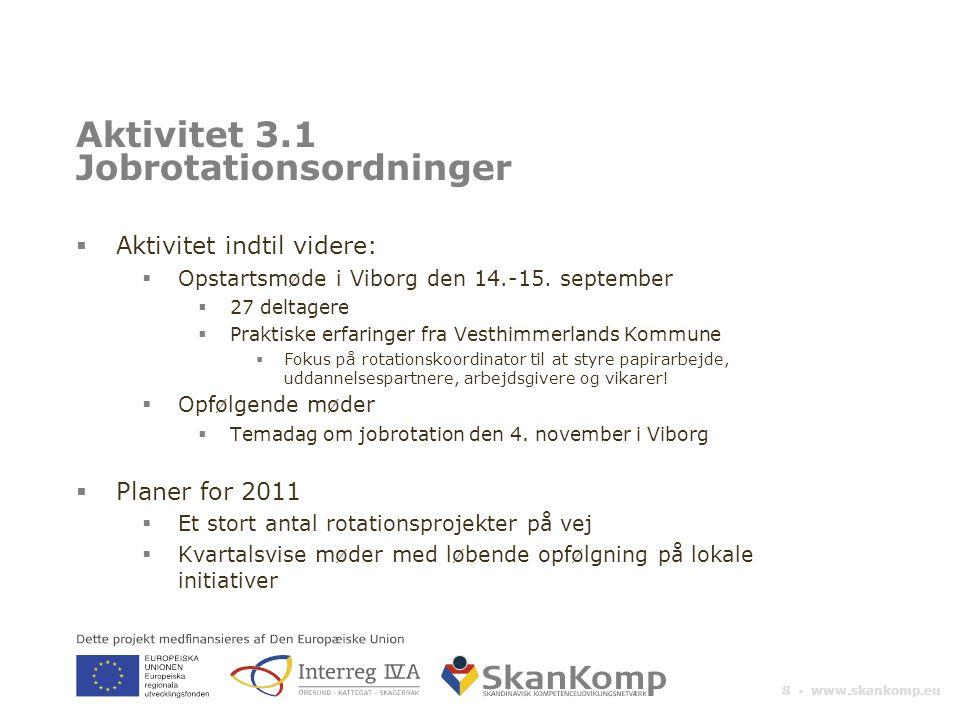 8 ▪ www.skankomp.eu Aktivitet 3.1 Jobrotationsordninger  Aktivitet indtil videre:  Opstartsmøde i Viborg den 14.-15.